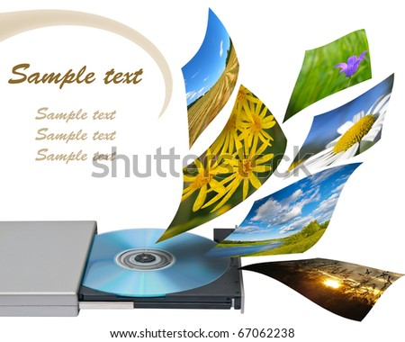 Multimedia concept with cd or dvd rom. Isolated on white.
