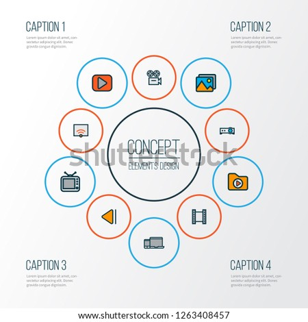 Multimedia icons colored line set with slow backward, picture, projector and other film elements. Isolated  illustration multimedia icons.