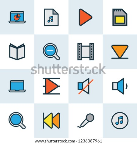 Multimedia icons colored line set with textbook, zoom out, playlist and other magnifier elements. Isolated  illustration multimedia icons.