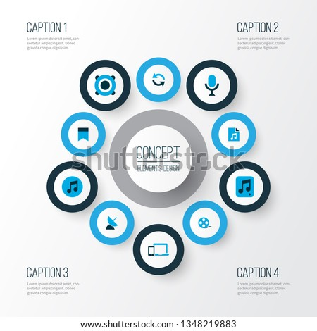 Multimedia icons colored set with film reel, quarter, song list and other karaoke elements. Isolated  illustration multimedia icons.