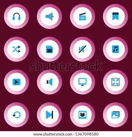 Multimedia icons colored set with loudspeaker, bookmark, picture and other memory elements. Isolated  illustration multimedia icons.