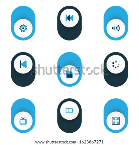 Multimedia icons colored set with sd card, previous, loading and other television elements. Isolated illustration multimedia icons.