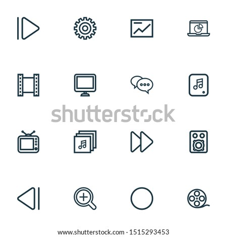 Multimedia icons line style set with comment, slow backward, setting and other infographic elements. Isolated illustration multimedia icons.