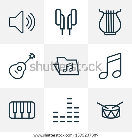 Multimedia icons line style set with notes, folder, mixer and other audio level elements. Isolated illustration multimedia icons.