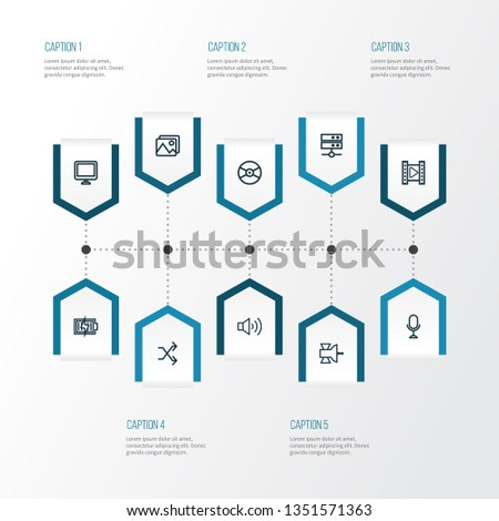 Multimedia icons line style set with satellite, media server, charging and other gallery elements. Isolated  illustration multimedia icons.