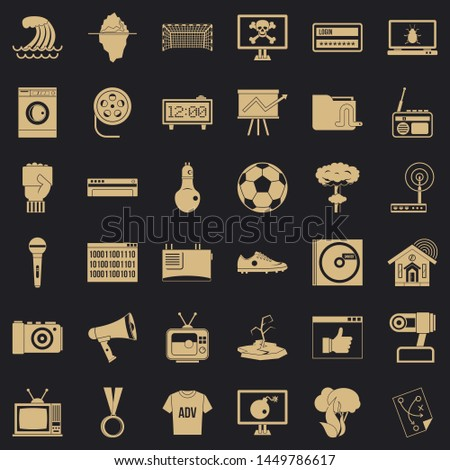 Multimedia icons set. Simple style of 36 multimedia icons for web for any design