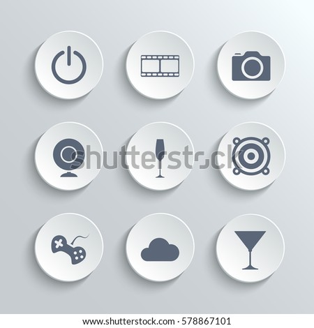 Multimedia icons set - white round buttons with power film camera webcam party disco game cloud cocktail symbols