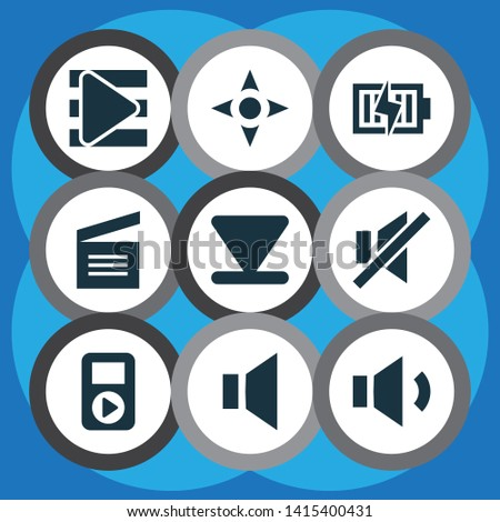 Multimedia icons set with arrow down, audio, megaphone and other song list elements. Isolated  illustration multimedia icons.