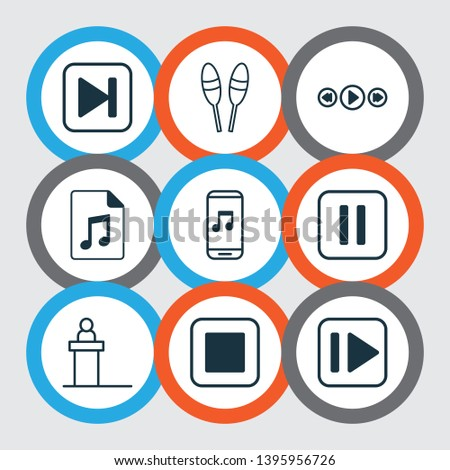 Multimedia icons set with drum sticks, next song, pause music and other beat instrument elements. Isolated  illustration multimedia icons.