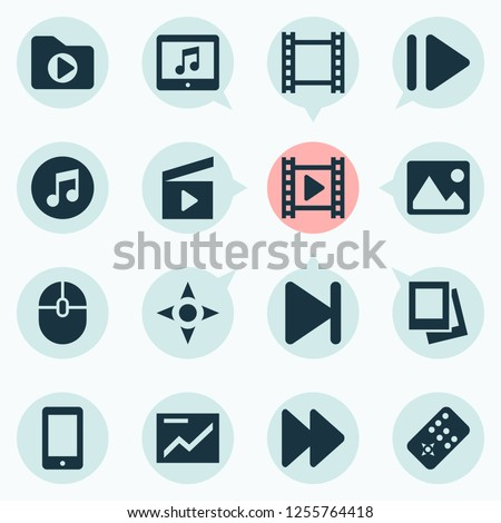 Multimedia icons set with fast forward, clapperboard, video and other movie elements. Isolated  illustration multimedia icons.