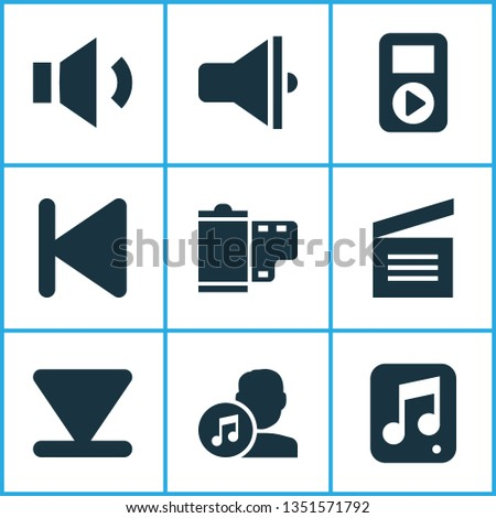 Multimedia icons set with film, audio, arrow down and other start elements. Isolated  illustration multimedia icons.