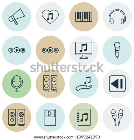 Multimedia icons set with media player, audio buttons, synthesizer and other beat instrument elements. Isolated  illustration multimedia icons.