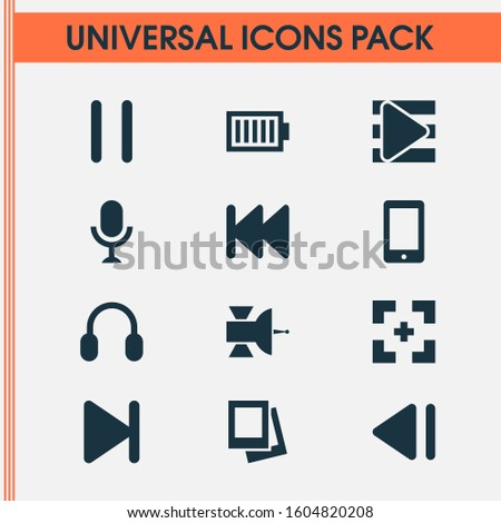 Multimedia icons set with microphone, end, smartphone and other stop elements. Isolated illustration multimedia icons.