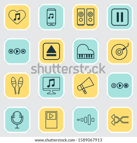 Multimedia icons set with music application, musical device, audio buttons and other extract device elements. Isolated illustration multimedia icons.