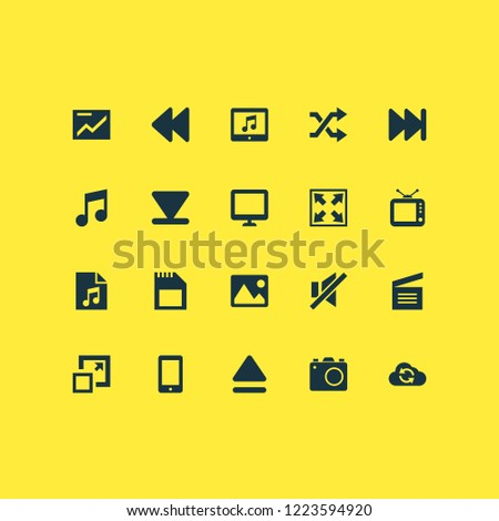 Multimedia icons set with photo apparatus, sd card, shuffle and other maximize elements. Isolated  illustration multimedia icons.