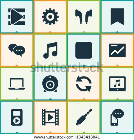 Multimedia icons set with presentation, bookmark, web cam and other headphone elements. Isolated  illustration multimedia icons.