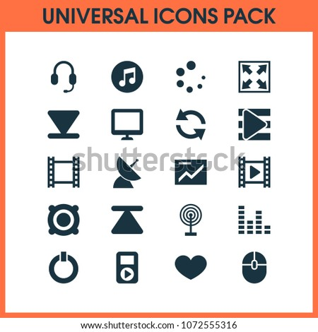 Multimedia icons set with presentation, computer mouse, video and other multimedia elements. Isolated  illustration multimedia icons.