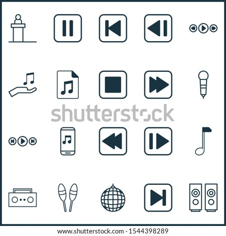 Multimedia icons set with scene, music application, sell music and other sound box elements. Isolated illustration multimedia icons.