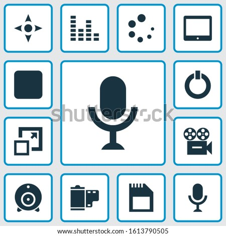 Multimedia icons set with sd card, audio mixer, tablet and other karaoke elements. Isolated illustration multimedia icons.