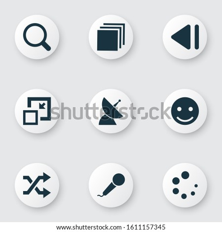 Multimedia icons set with shuffle, slow backward, minimize and other previous elements. Isolated illustration multimedia icons.