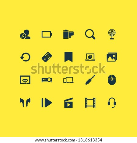 Multimedia icons set with video, picture, film and other controller elements. Isolated  illustration multimedia icons.