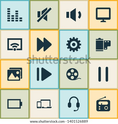 Multimedia icons set with wifi, display, sound off and other gear elements. Isolated  illustration multimedia icons.