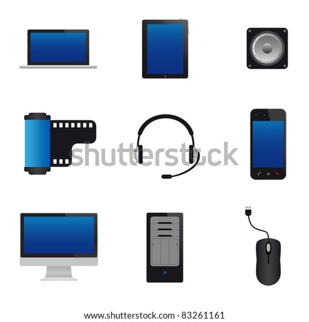 Multimedia icons. Vector available.