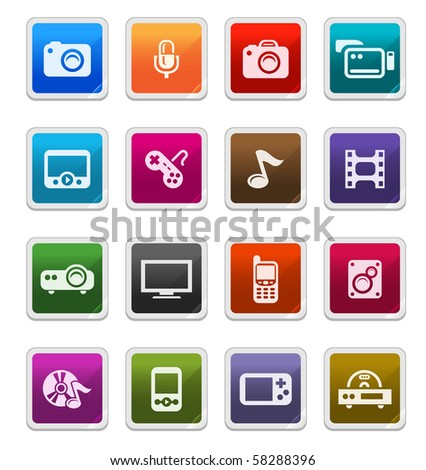 Multimedia Sticker Icons isolated over white background - sticker series