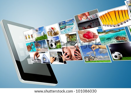 Multimedia streaming of the tablet screen. All images coming from my gallery.