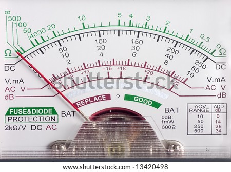 multimeter display closeup with voltage and amps for AC and DC current - stock photo