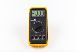 Multimeter for a measurement of a voltage, current and resistance with cables. Digital multimeter to check the resistance on a white background.