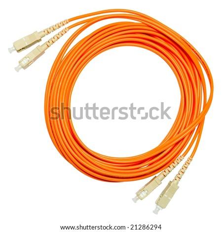 Ethernet Optical Fiber on Multimode Optical Fiber Patch Cord Sc Sc Duplex Stock Photo 21286294