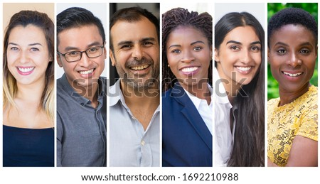 Multinational project team members portrait set. Positive happy men and women of different races and ages multiple shot collage. Human emotions concept
