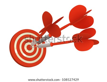 Multiple Arrow Hits Bull's Eye  (Isolated on White Background)