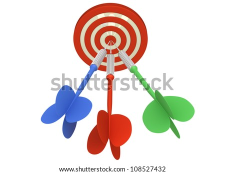Multiple Arrow Hits Dartboard (Isolated on White Background)