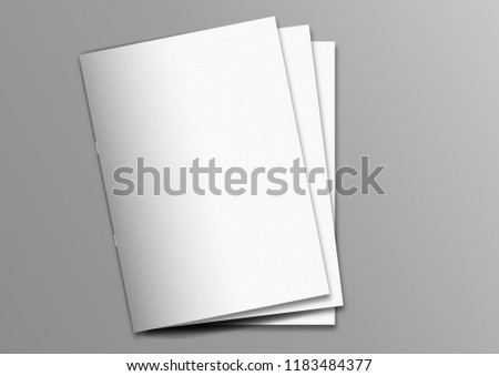 Multiple brochure magazine stacked white cover mockup on grey background, pinned book, flat lay, add your design #1183484377