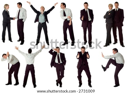 multiple business men isolated on white background