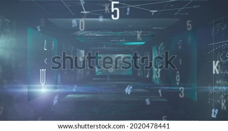 Multiple changing numbers and alphabets floating against mathematical equations on screens. school and education concept