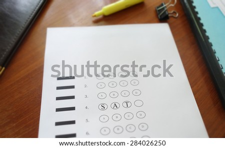 Multiple choice test with SAT text in the circles