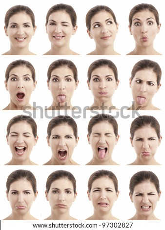 Multiple close-up portraits of the same woman expressing different emotions and expressions - stock photo