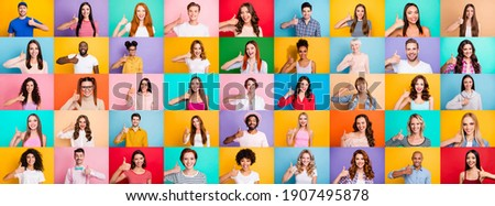 Multiple collage of positive modern multiethnic person different age raising thumb fingers express approve isolated colorful background