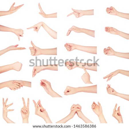 multiple collection hand of woman holding and supporting something. Isolated on white