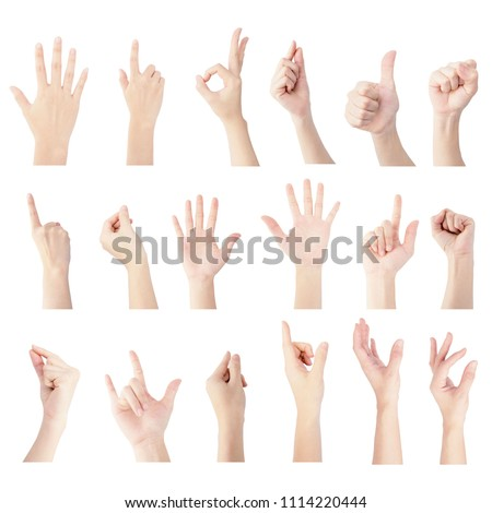 multiple collection hand of woman in vertical gesture isolated on white background #1114220444