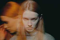 Multiple exposure of beautiful young woman with impulse control and addiction disorders
