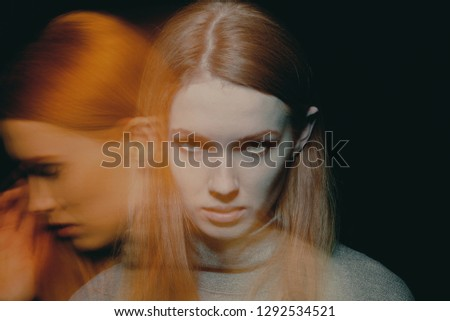 Multiple exposure of beautiful young woman with impulse control and addiction disorders #1292534521