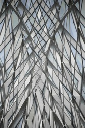 Multiple exposure photo of modular glass walls / ceiling / roof / dome. Glazed aluminum structure. Abstract background composition on subject of modern architecture.