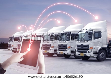 Multiple exposures of business shipping, logistics, industry background overall. New truck fleet with container depot as for shipping and logistics transportation industry.