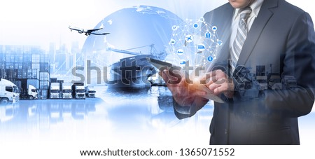 Multiple exposures of Businessman touching tablet for analyze stock at logistics port and world map with Delivery network distribution on background, transportation trading business concept,