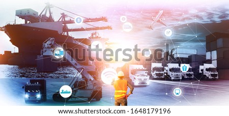 Multiple exposures of Man touching hologram screen displaying modern at logistics port and world map with logistic network distribution on background, transportation trading business concept,