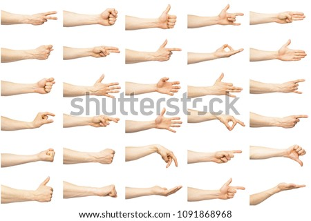 Multiple female caucasian hand gestures isolated over the white background, set of multiple images #1091868968